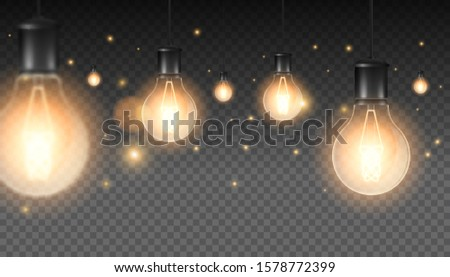 Set of realistic luminous lamps, lamps hanging on a wire. Incandescent lamp.Isolated on a checkered dark background. Vector illustration