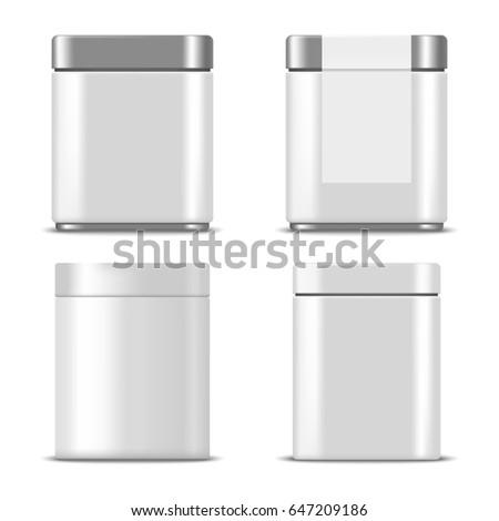 set of realistic metallic boxes