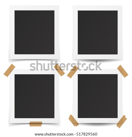 Set of realistic old photo frames isolated on white background. Template retro photo design. Vector illustration. EPS10.