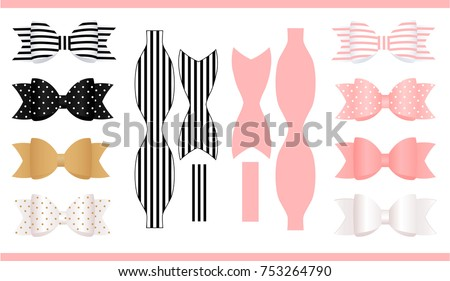 Free hair ribbon vectors download free vector art stock graphics set of realistic paper bows pink gold white and black print and maxwellsz