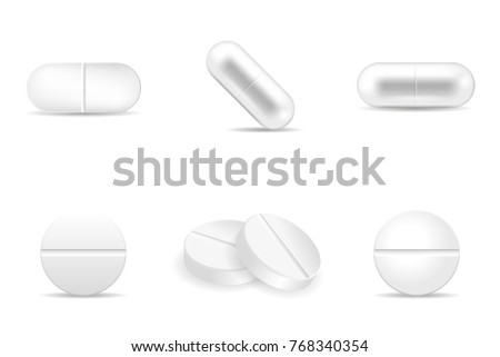 Set of realistic pills in any shapes and forms. Collection of oval, round and capsule shaped tablets. Medicine and drugs vector illustration.