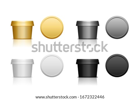 Set of realistic plastic cosmetic jar for body of face cream, scrub. Isolated vector illustration. Round bottle with cap. Front and top view of packaging mockup template. Stockfoto ©