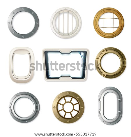 set of realistic portholes of