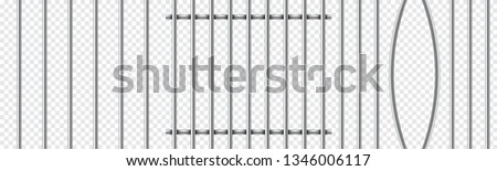 Set of realistic prison metal bars isolated on transparent background. Iron jail cage. Prison fence jail. Template design for criminal or sentence. Vector illustration