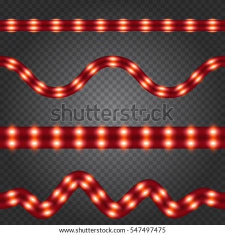 Set of realistic red neon or led glowing light stripes on transparent background. Horizontal seamless objects.