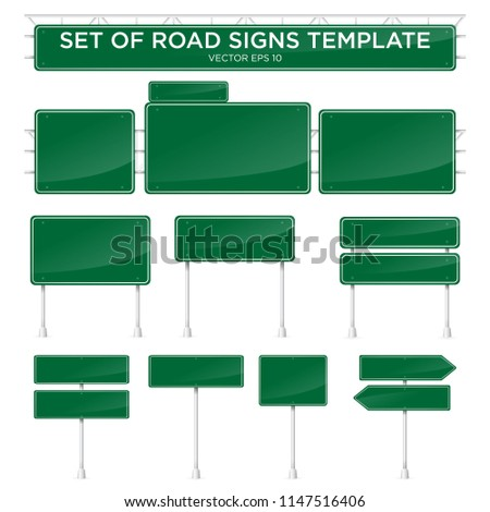 set of realistic road signs template with green color #1147516406