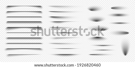 Set of realistic round shadow and shadow effect. Poster, flyer, business card, banner shadow collection. Vector shadows isolated on transparent background.
