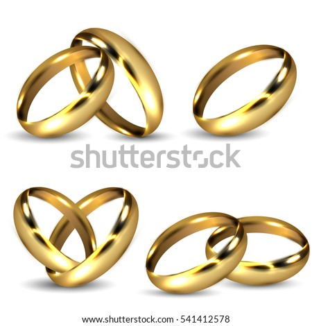 Set of Realistic Shiny Gold Wedding Rings Isolated on White Background with Shadow. 3D Vector Rendering