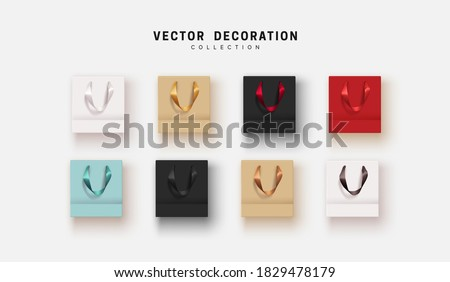 Set of realistic shopping paper bags. Mockup template for branding. Shop blank package. vector illustration