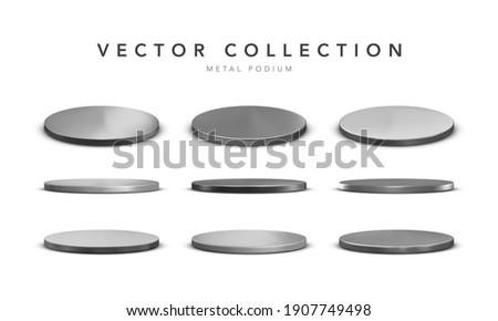 Set of realistic silver metal stage podium with shadow isolated on white background. Round winner pedestal. 3d empty platform. Vector illiustration