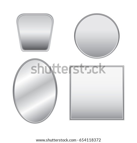 set of realistic silver mirrors
