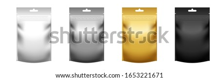 Set of realistic stand up pouch doypacks with zip lock isolated on white background. Vector pack mock-up for product design and branding. Blank food foil or plastic package template