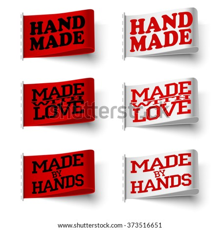 Set of  realistic textile red and white labels, hand made and made with love and made by hand, with shadow on white background, vector