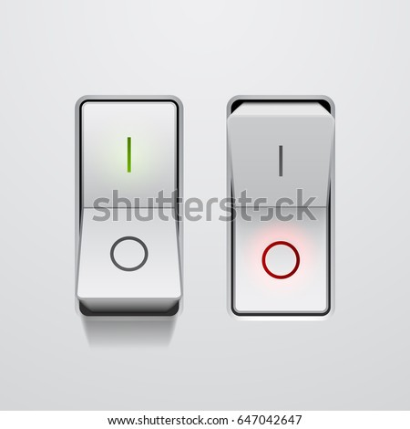 Set of realistic toggle switches in on and off positions, vector button illustration