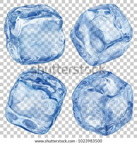 Set of realistic translucent ice cubes in blue color on transparent background. Transparency only in vector format