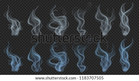 Set of realistic translucent smoke or steam in gray and light blue colors, isolated on transparent background. Transparency only in vector format