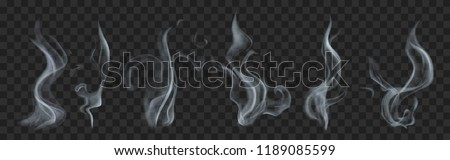 Set of realistic translucent smoke or steam in gray colors, isolated on transparent background. Transparency only in vector format