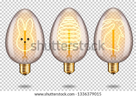 Set of realistic transparent glowing vintage light bulb with easter egg and bunny, isolated.