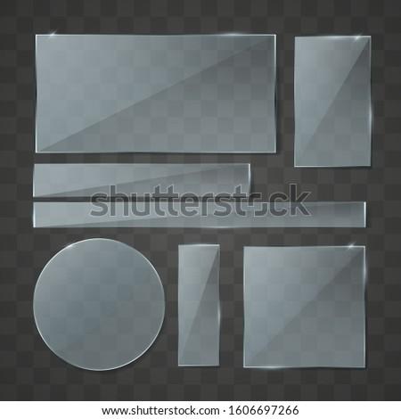 Set of Realistic transparent plate on transparent background. Flat glass. Realistic 3D design.