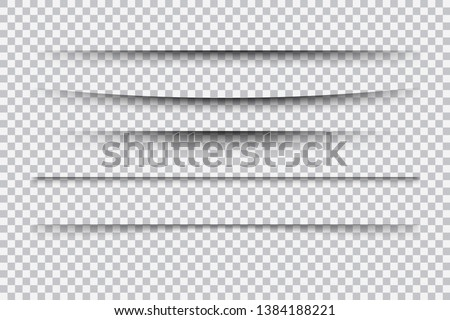 Set of realistic transparent shadow effects isolated on checkered background, vector illustration