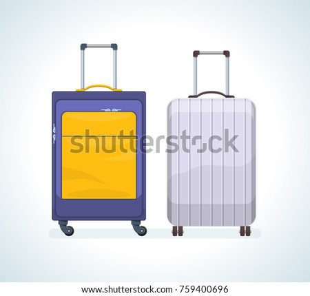 Set of realistic travel bags, suitcases for luggage on wheels. Bags for travel, recreation, business trips, crossings. Plastic and metal suitcases and bags. Vector illustration isolated.
