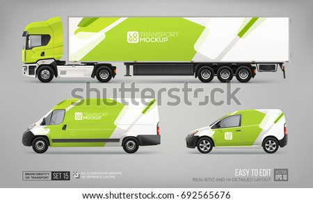 set of realistic truck trailer