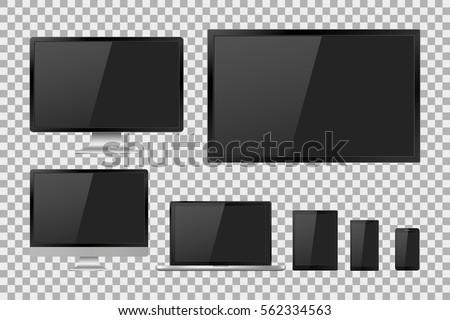 set of realistic tv  lcd  led ...