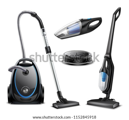 Set of realistic vacuum cleaners of various types isolated on white background vector illustration