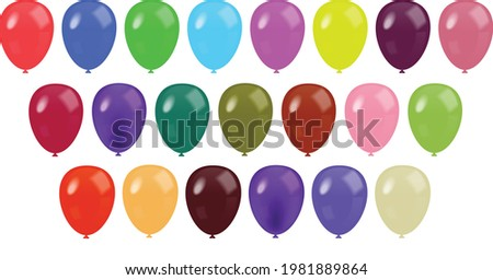 Set of realistic vector colorful balloons isolated on transparent background. Color Glossy Balloons Mega Set Vector Illustration.