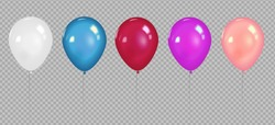 Set of realistic vector colorful balloons with light reflects isolated on transparent background.