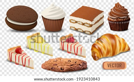 Set of realistic vector confectionery products isolated on transparent background. Illustration of cakes, cupcakes and cookies