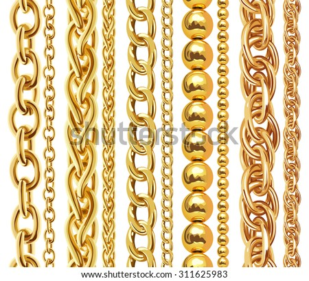 Set of realistic vector golden chains. Vector illustration of gold links isolated on white background ストックフォト ©