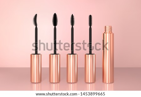 Set of realistic vector golden Mascara Bottles. Brush and mascara tube. Black wand and golden tube on rose-gold background. Fashionable cosmetics Makeup for Eyes.