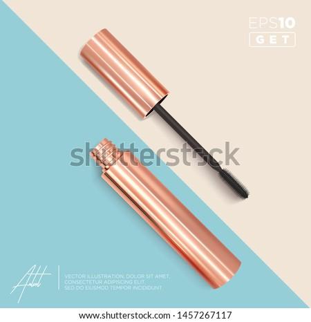 Set of realistic vector golden Mascara Bottles. Brush and mascara tube. Black wand and golden tube on rose-gold and light blue background. Fashionable cosmetics Make up design for Eyes.