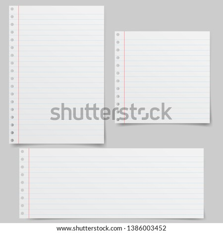 Set of realistic vector illustration of blanks sheets of square paper from a block isolated on a gray background with shadows. Notebook paper
