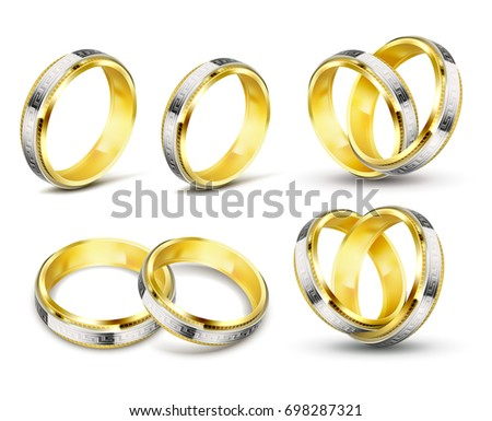 Set Of Realistic Vector Illustrations Of Gold Wedding Rings With Elements  Of Silver, Platinum And
