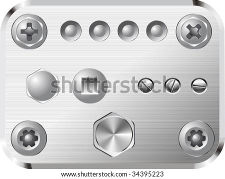 Set of realistic vector screws and rivets