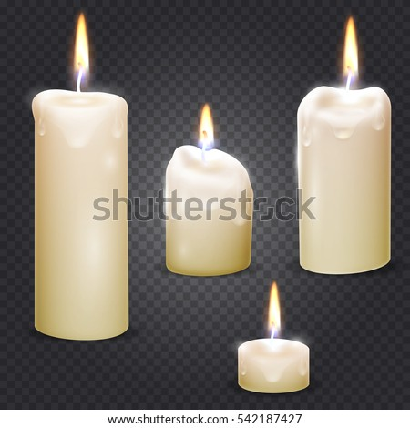 Set of realistic vector white candle with fire on transparent background.
