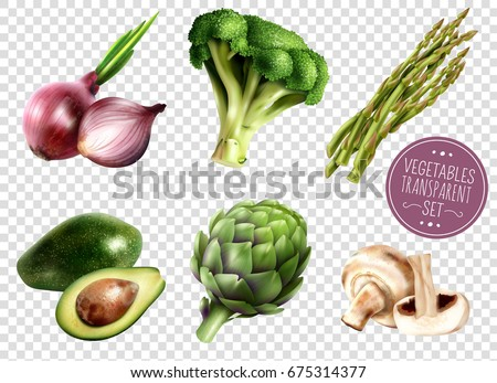 Set of realistic vegetables isolated icons on transparent background with avocado onion broccoli artichoke asparagus mushrooms vector illustration