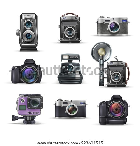 Set of realistic vintage retro camera and digital photo camera. Vector illustration on white background.