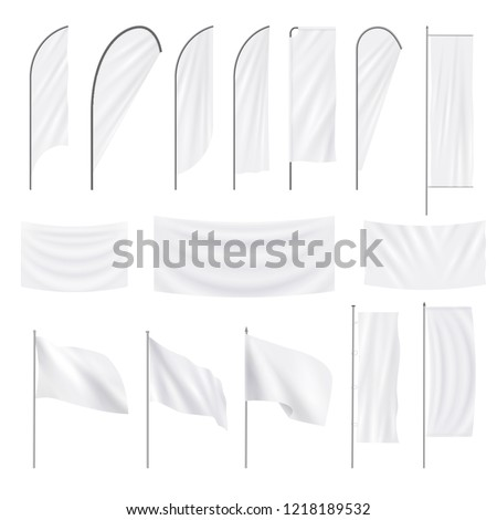 Set of realistic white advertising textile flags and banners. Vector mockup, template, collection of empty fabric canvas poster for advertising