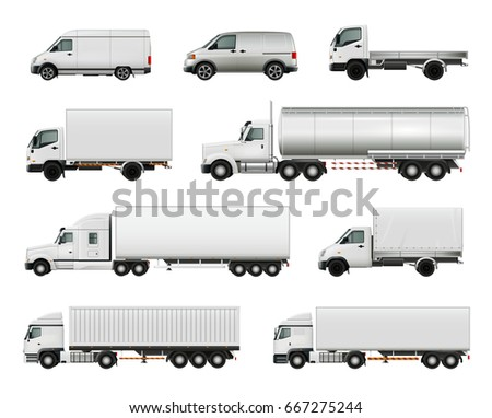 Set of realistic white cargo vehicles including heavy trucks with various trailers, lorries, vans isolated vector illustration