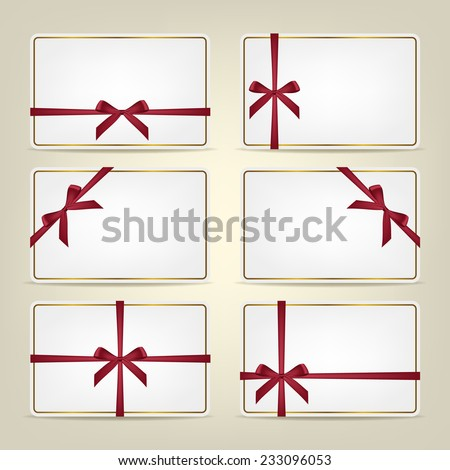 Set of realistic white gift cards with red ribbons and gold frame. Vector background or template.