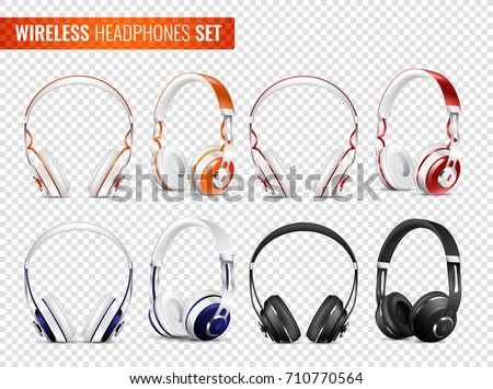 Set of realistic wireless earphones of various color with headband on transparent background isolated vector illustration