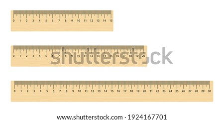 Set of realistic wooden measuring ruler 15, 20 and 30 centimeters. School math tool.   Photo stock ©