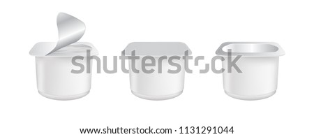 Set of realistic Yogurt in plastic cup isolated on white background. Mock up of White plastic pots with foil cover for yogurt and other products.