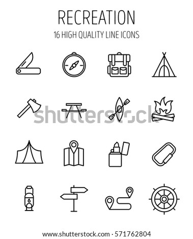 Set of recreation icons in modern thin line style. High quality black outline camping symbols for web site design and mobile apps. Simple recreation pictograms on a white background.