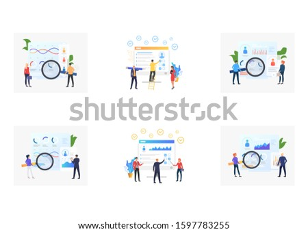 Set of recruitment agencies, applicants and job interviews. Flat vector illustrations of recruitment agencies and job interviews. Hr, employment concept for banner, website design or landing web page