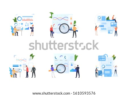 Set of recruitment agencies, applicants and job interviews. Flat vector illustrations of people studying candidates profiles. Hr, employment concept for banner, website design or landing web page