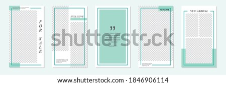 Set of rectangle editable minimal layout social media stories template green color for personal or business. Use this layout for web, banner, poster, shop, discount, sale, promotional product. Foto stock ©